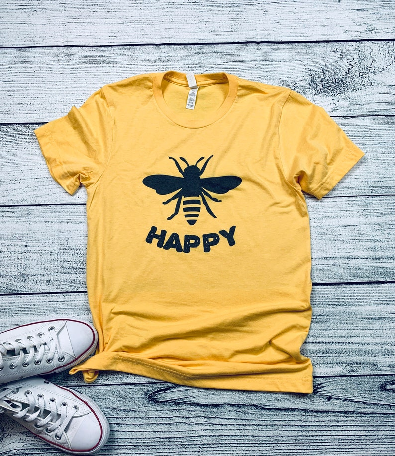 60bc200877bd0 Bee Happy T-Shirt Be Kind Yellow Be Happy Mom Life Inspirational Shirt Gift  for Her
