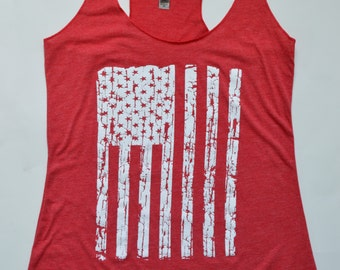 American Flag Tank Top, USA Tank, Fourth of July, Exercise Gym Tank, Yoga Tank top