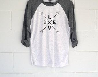 Love Arrows Baseball T-Shirt.  Womens Top.  Shirt.  Tee.  Gift