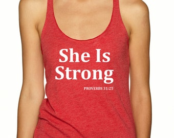 She Is Strong Proverbs 31:25 Workout Tank Top  Women