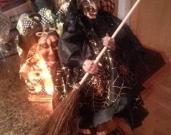 Halloween Witch Lighted Glass Block