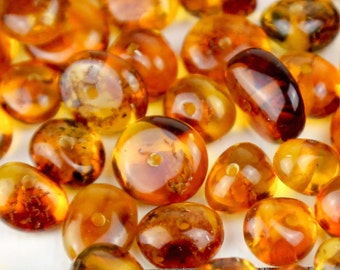 Genuine Natural Honey Polish Baltic Amber Medium Beads With Holes - 20pcs