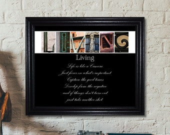 Living Quote Print, Inspirational Quote, Inspirational Sign, Living Sign, Alphabet Photography, Inspirational Quote