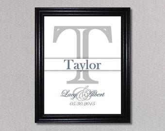 Family Name, Last Name Print, Personalized Initial Print, Initial Monogram Print, Shower Gift, Custom Monogram, Letter Art, Home Decor