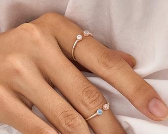 Stacking Ring Set \u2022 Raw Stone Ring \u2022 Birthstone Rings \u2022 Gift for Women \u2022 October Birthstone \u2022 Anniversary Gift \u2022 Statement Ring \u2022 Rough Gem