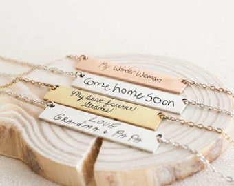 Actual Handwriting Bar Necklace - Signature Bar Necklace - Engraved Necklace - Memorial Necklace - Valentines Gift - Christmas gift