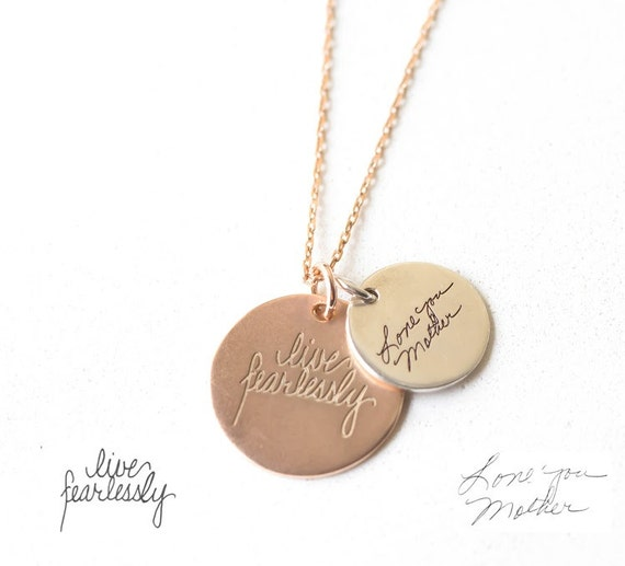 34 19mm Signature Necklace Memorial Charm Handwritten Necklace Sterling Silver Actual Handwriting Disc Charm Only