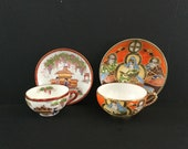 Two Japanese eggshell porcelain cups and saucers, Satsuma hand painted with lithophanes. Top quality Japanese porcelain. Hidden treasures