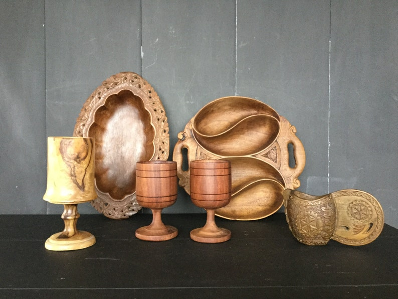 The Cracked Plate Collection of hand carved wooden goblets and bowls from India