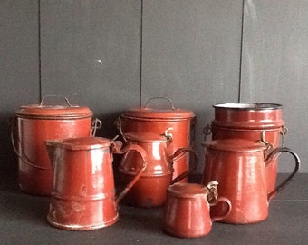 Old french country brown-red enamel cans and pitchers. Vintage enamel pails. Enamel pots. Trinket.