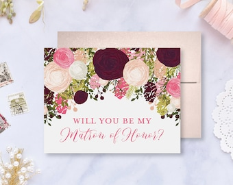Will You Be My Bridesmaid Card Bridesmaid Cards Ask Bridesmaid Bridesmaid Maid of Honor Gift Matron of Honor Flower Girl #CL113