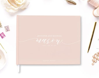 Custom Wedding Guest Book Blush Pink Wedding Guest Book Wedding Gift Wedding Notebook Wedding Guest Sign in Book Wedding Book #CLG102