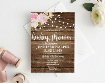 Rustic Baby Shower Invitation Baby Shower Invite Girl Baby Shower Invitation Shower Invitation Printable Baby Shower Invitation #CL102