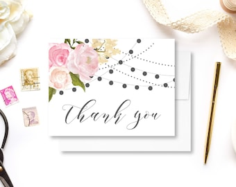 Thank You Card Floral Thank You Card Folded Thank You Card Wedding Floral Thank You Card Wedding Thanks Printable Thank You Card #CL105