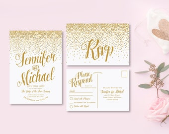 Gold Wedding Invitation with Rsvp Card Printable Wedding Suite Modern Calligraphy Gold Wedding Suite Gold Confetti #CL116