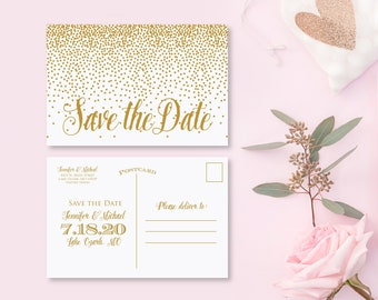 Gold Save the Date Postcard Printed Save the Date Postcard Modern Calligraphy Gold Save the Date Card Gold Confetti #CL116