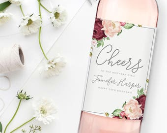 Custom Birthday Wine Labels Personalized Wine Label Birthday Girl Wine Bottle Labels Birthday Gift Birthday Gift Wine Label #CL338