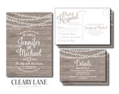 Rustic Wedding Invitation, RSVP Postcard, Info Card Set, Country Chic, Hanging Lights, Fall Wedding, Rustic Wedding, Wedding Suite #CL179