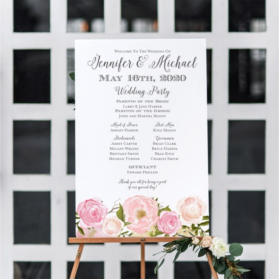 wedding program sign welcome wedding sign program sign floral