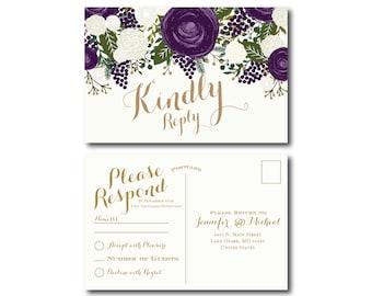 Vintage Wedding RSVP Postcard Fall Wedding Vintage Floral Floral Wedding Vintage Wedding RSVP Postcard Wedding Postcard RSVP #CL258