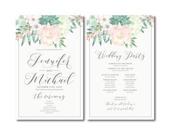 Vintage Wedding Programs Floral Program Vintage Floral Floral Wedding Vintage Wedding Wedding Program Ceremony Order of Service #CL180