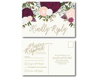 Vintage Wedding RSVP Postcard Fall Wedding Vintage Floral Floral Wedding Vintage Wedding RSVP Postcard Wedding Postcard RSVP #CL235