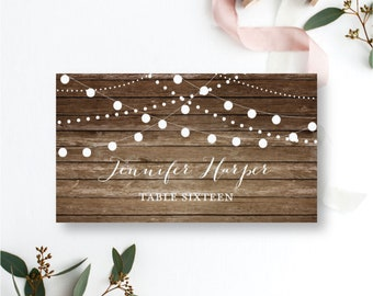 Rustic Wedding Place Card Country Chic Hanging Lights Fall Wedding DIY Wedding Place Cards INSTANT Download PDF Template #CL101