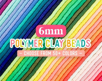 6mm Heishi Beads, Polymer Clay Beads, African Vinyl Disc Beads, Wholesale Beads, Colored Heishi Strand Beads, 16 inch strand, 50+ colors