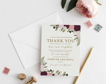 Thank You Note Template DIY Wedding Thank You Wedding Thank You Card Printable Thank You INSTANT Download PDF Template #CL157