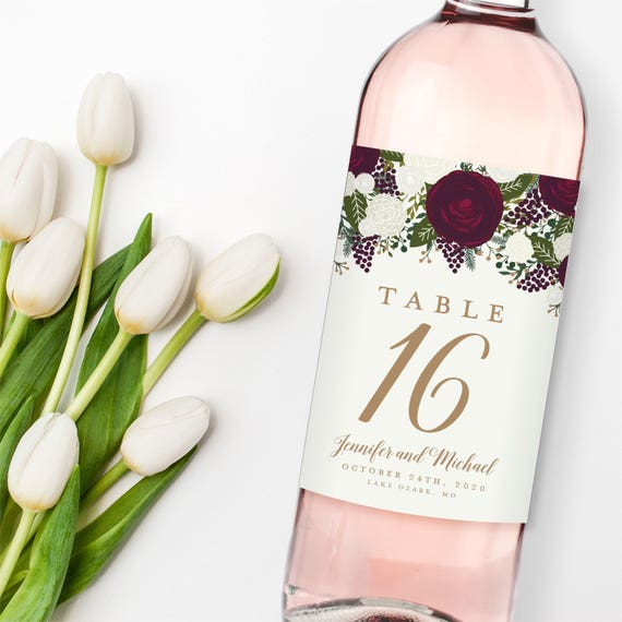 wedding table numbers table number wine labels wedding wine etsy