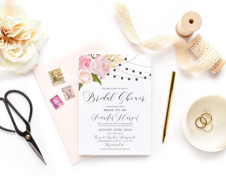 Bridal shower invitations floral invitation shower invitations etsy zoom filmwisefo