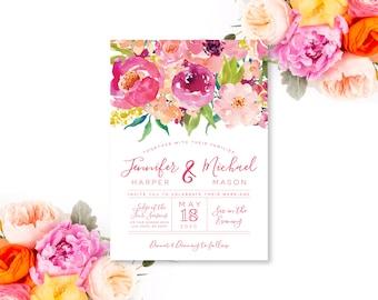 Floral Wedding Invitation Printable Wedding Invitation Watercolor Flowers Wedding Invitation Hot Pink Invitation Wedding Invite #CL117
