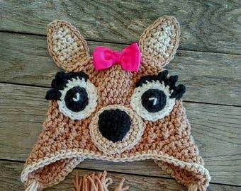 Crochet Baby Deer Hat , size 0-3 months