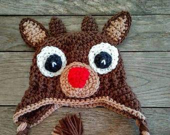 Crochet Reindeer hat  size 0-3 months