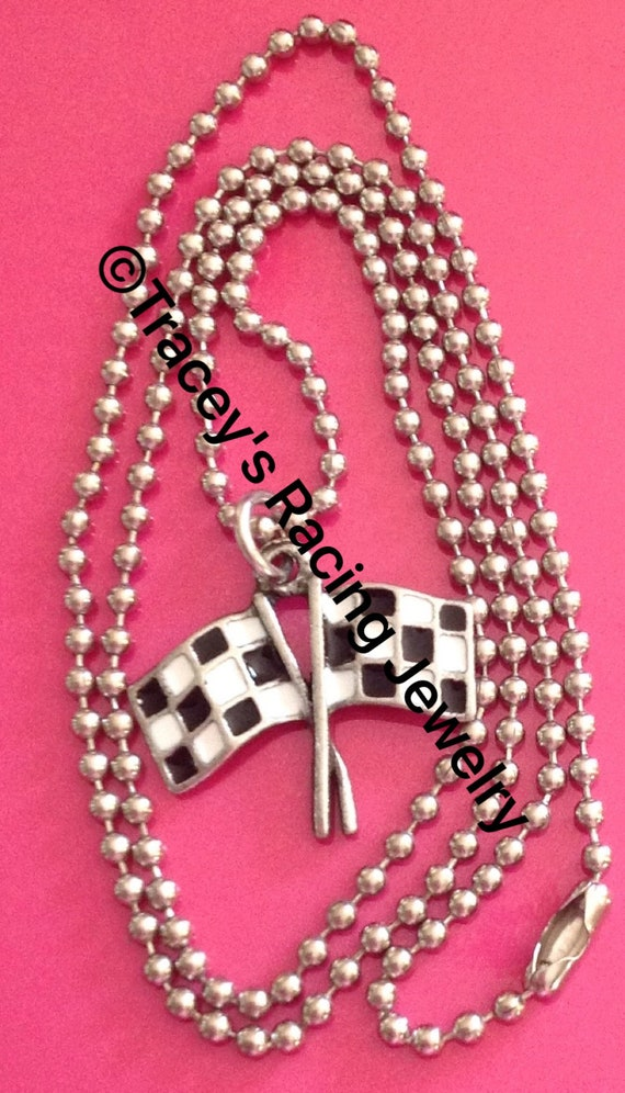 Checkered flag charm necklace auto Tracey/'s racing jewelry DF-1