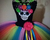 Dia de los Muertos Day of the Dead Sugar Skull Baby Toddler Girl Birthday Halloween Costume Tutu Dress from LanYapCrafts