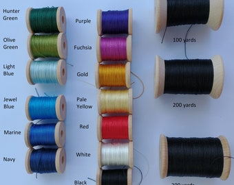 60/2 spun silk in a variety of colors in 50/100/200/300 yard lengths