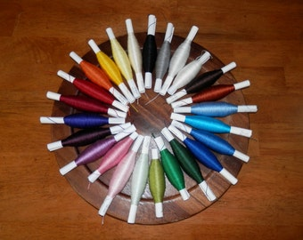 100 yards of 20/2 spun silk in a variety of colors
