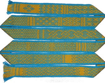 A collection of strapwork inspired tabletweaving patterns for 24 cards.