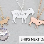 Goat Necklace Personalized Pet • Billy Goat Jewelry Farm Animal Lover Gift Funny Gift Farm Gift Animal Charm Animal Necklace Pet