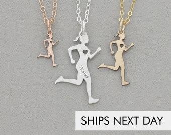 Runner Necklace • Run Jewelry Track Charm Engraved Cross Country Gift • Team Jewelry Marathon Gift Running Pendant Runner Charm Running Team