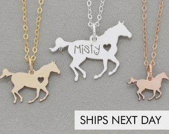 Racing Horse Necklace • Personalized Horse Lover Gift Horse Jewelry •Silver Horse Racing Horse Running Rodeo Riding Lessons Stocking Stuffer