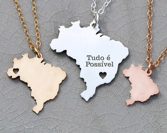 Brazil Necklace Country • Brazil Jewelry South America Necklace Engraved Pendant Personalized Location Jewelry Coordinate Gift