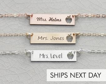 Custom Teacher Gift • Personalized Teacher Necklace Thank You Gift School Teacher Substitute •  Preschool Teacher Jewelry September Apple