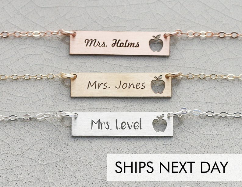 Custom Teacher Gift  Personalized Teacher Necklace Thank You image 0