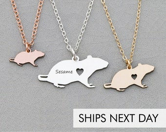 Rat Necklace • Sterling Silver Rat Gift • Personalized Pet Charm • Cute Pet Unique Gift • Animal Cute • Pendant Rodent Necklace