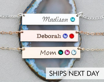 Birthstone Bar Necklace Personalize • Birthstone Necklace Mom Gift Birthstone Jewelry Engraved Name Custom Gift Grandma