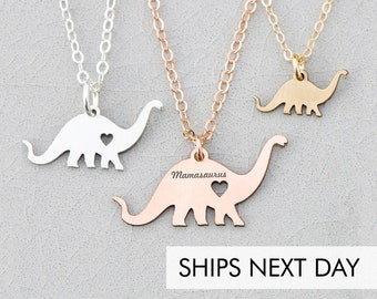 Dinosaur Necklace • Dino Child Necklace Animal Charm Necklace Brachiosaurus Unique Birthday Gift Personalize Funny Gift Cute Mother's Day