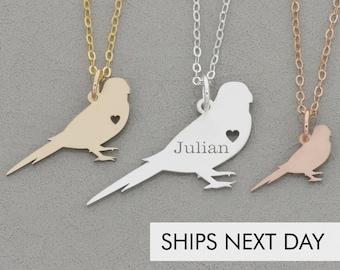 Parakeet Necklace Bird Charm • Personalized Bird Jewelry Cute Pet Unique Custom Bird Pendant • Engraved Animal Jewelry Cute Bird