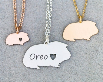 Guinea Pig Necklace • Sterling Silver Guinea Pig Gift Personalized Animal Charm Cute Pet Unique Gift Jewelry Animal Pendant Cavy